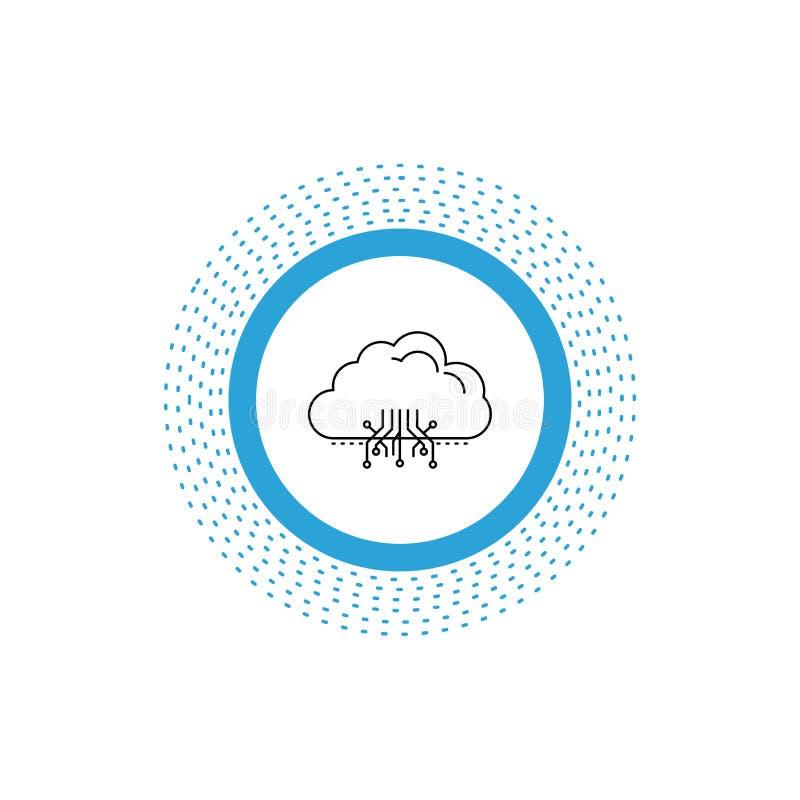 σύννεφο, υπολογισμός, στοιχεία, φιλοξενία, εικονίδιο γραμμών δικτύων : απεικόνιση αποθεμάτων