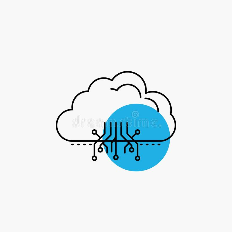 σύννεφο, υπολογισμός, στοιχεία, φιλοξενία, εικονίδιο γραμμών δικτύων διανυσματική απεικόνιση