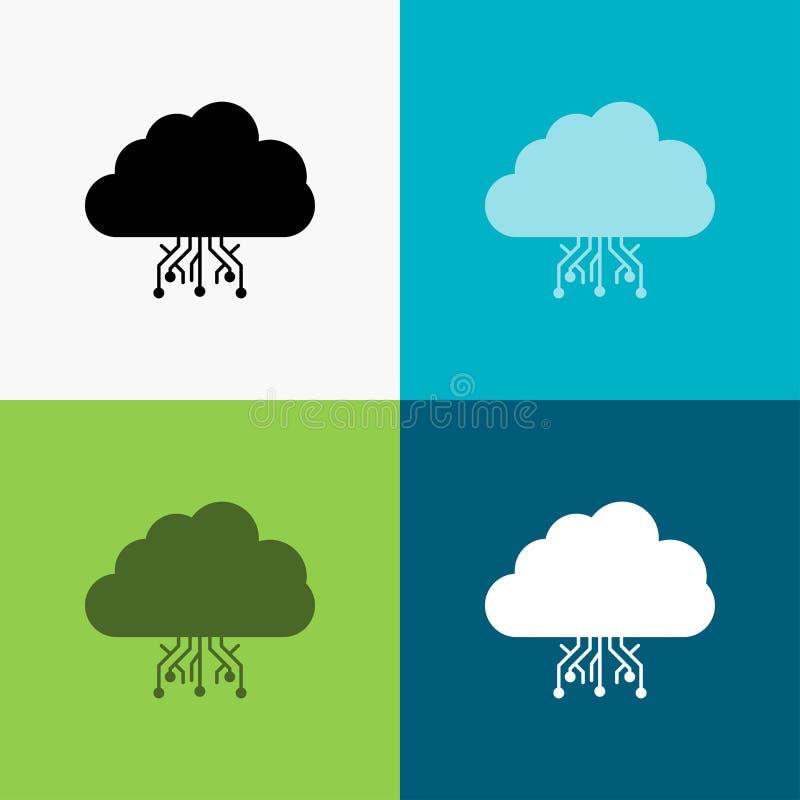 σύννεφο, υπολογισμός, στοιχεία, φιλοξενία, εικονίδιο δικτύων πέρα από το διάφορο υπόβαθρο glyph σχέδιο ύφους, που σχεδιάζεται για ελεύθερη απεικόνιση δικαιώματος