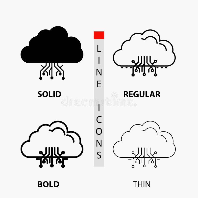 σύννεφο, υπολογισμός, στοιχεία, φιλοξενία, εικονίδιο δικτύων στη λεπτά, κανονικά, τολμηρά γραμμή και το ύφος Glyph r απεικόνιση αποθεμάτων