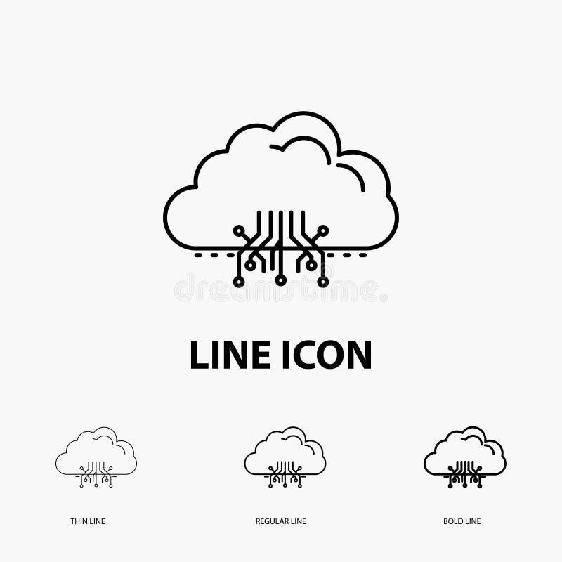 σύννεφο, υπολογισμός, στοιχεία, φιλοξενία, εικονίδιο δικτύων στο λεπτό, κανονικό και τολμηρό ύφος γραμμών r απεικόνιση αποθεμάτων
