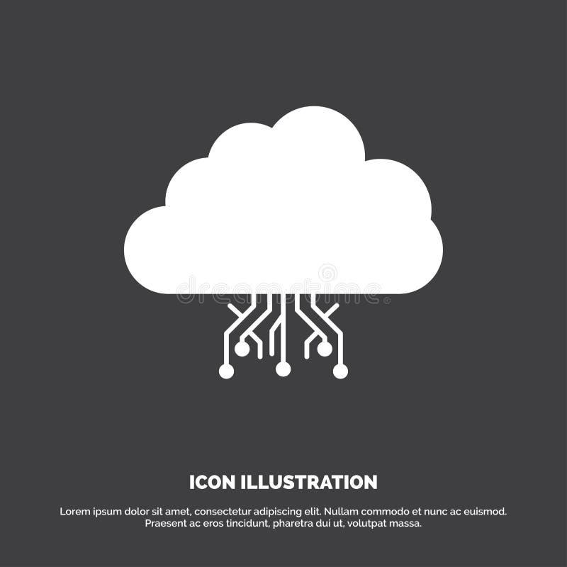 σύννεφο, υπολογισμός, στοιχεία, φιλοξενία, εικονίδιο δικτύων glyph διανυσματικό σύμβολο για UI και UX, τον ιστοχώρο ή την κινητή  απεικόνιση αποθεμάτων