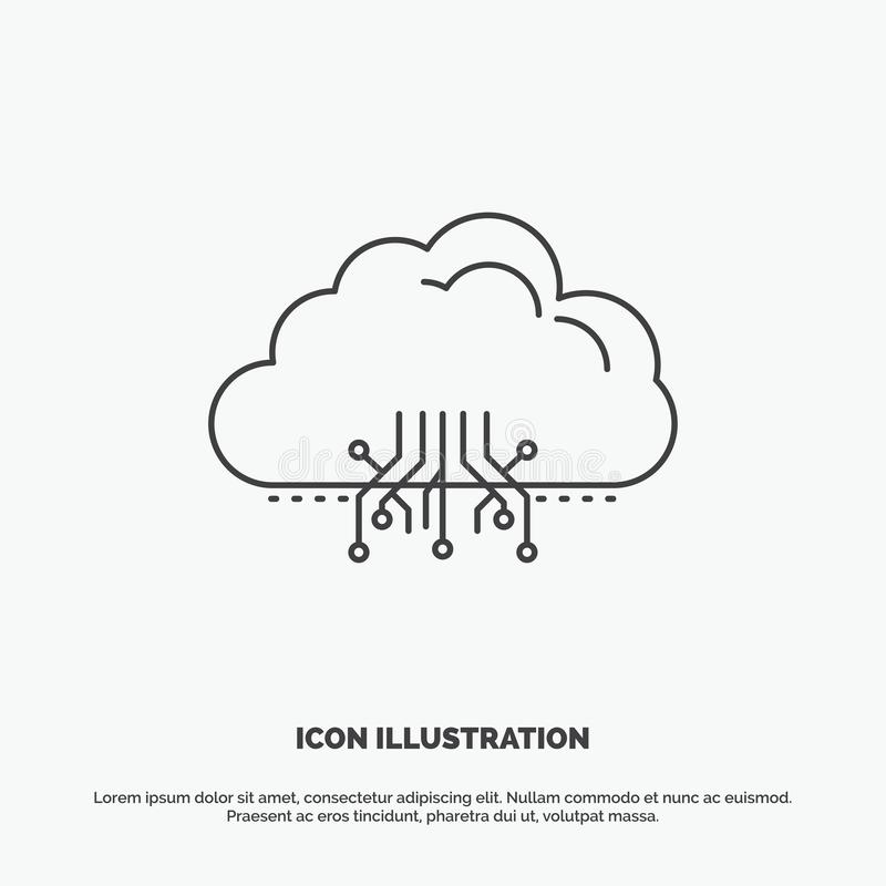 σύννεφο, υπολογισμός, στοιχεία, φιλοξενία, εικονίδιο δικτύων r διανυσματική απεικόνιση