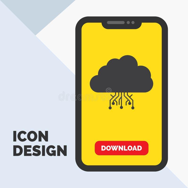 σύννεφο, υπολογισμός, στοιχεία, φιλοξενία, εικονίδιο Glyph δικτύων σε κινητό για Download τη σελίδα r διανυσματική απεικόνιση
