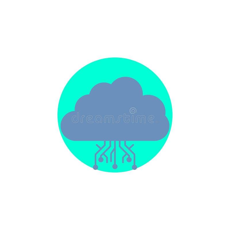 σύννεφο, υπολογισμός, στοιχεία, φιλοξενία, εικονίδιο Glyph δικτύων απεικόνιση αποθεμάτων