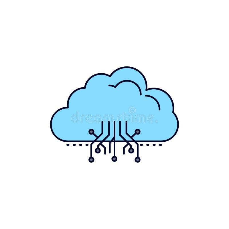 σύννεφο, υπολογισμός, στοιχεία, φιλοξενία, επίπεδο διάνυσμα εικονιδίων χρώματος δικτύων απεικόνιση αποθεμάτων