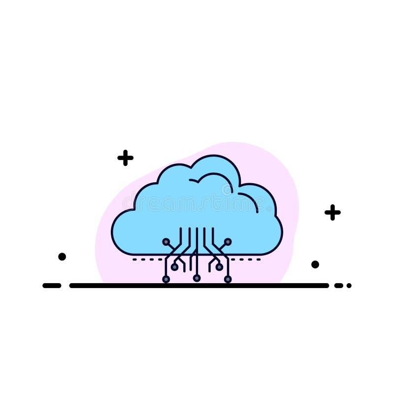 σύννεφο, υπολογισμός, στοιχεία, φιλοξενία, επίπεδο διάνυσμα εικονιδίων χρώματος δικτύων διανυσματική απεικόνιση