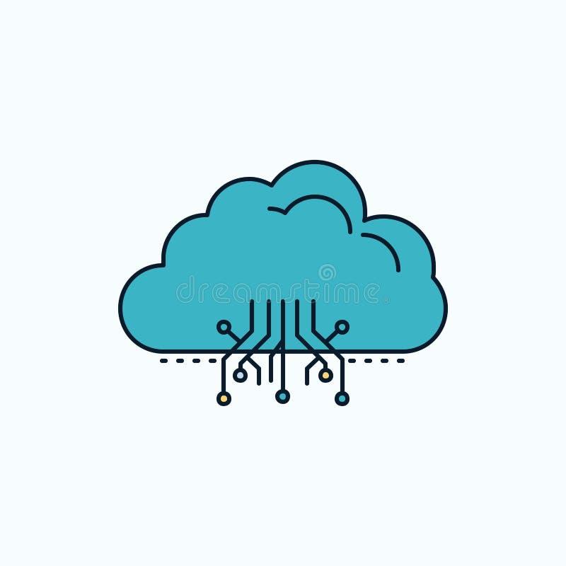 σύννεφο, υπολογισμός, στοιχεία, φιλοξενία, επίπεδο εικονίδιο δικτύων r r διανυσματική απεικόνιση