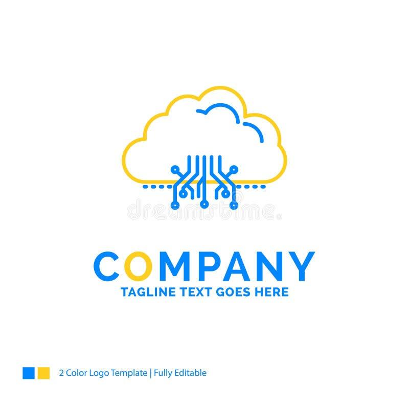 σύννεφο, υπολογισμός, στοιχεία, φιλοξενία, μπλε κίτρινη επιχείρηση Lo δικτύων ελεύθερη απεικόνιση δικαιώματος
