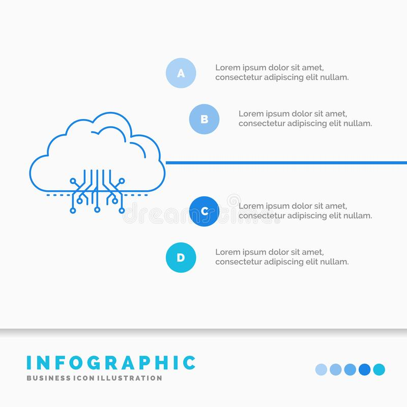 σύννεφο, υπολογισμός, στοιχεία, φιλοξενία, πρότυπο Infographics δικτύων για τον ιστοχώρο και παρουσίαση Infographic ύφος εικονιδί διανυσματική απεικόνιση