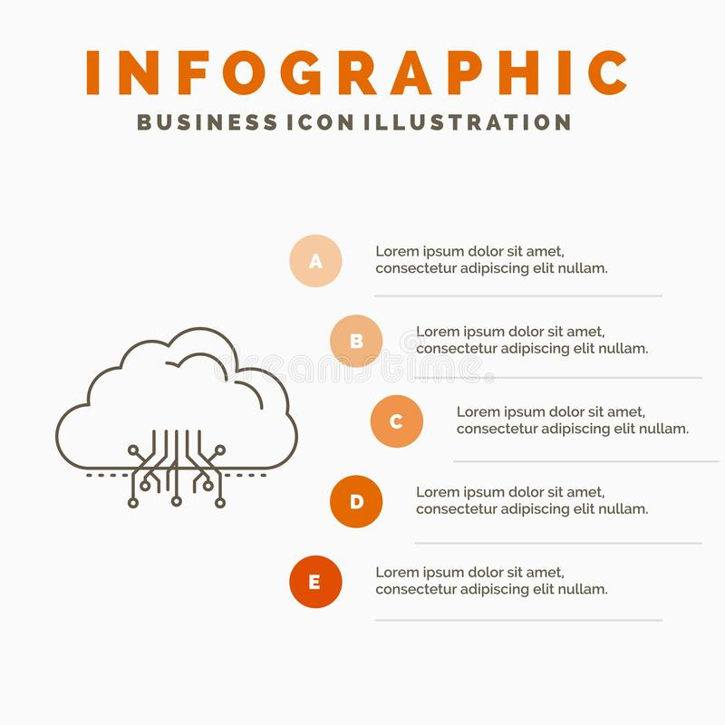 σύννεφο, υπολογισμός, στοιχεία, φιλοξενία, πρότυπο Infographics δικτύων για τον ιστοχώρο και παρουσίαση Γκρίζο εικονίδιο γραμμών  απεικόνιση αποθεμάτων