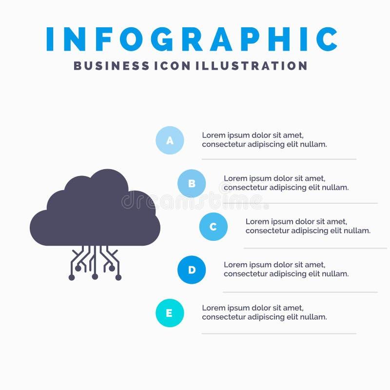 σύννεφο, υπολογισμός, στοιχεία, φιλοξενία, πρότυπο Infographics δικτύων για τον ιστοχώρο και παρουσίαση Γκρίζο εικονίδιο GLyph με διανυσματική απεικόνιση