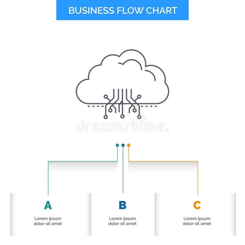 σύννεφο, υπολογισμός, στοιχεία, φιλοξενία, σχέδιο διαγραμμάτων επιχειρησιακής ροής δικτύων με 3 βήματα Εικονίδιο γραμμών για το π διανυσματική απεικόνιση