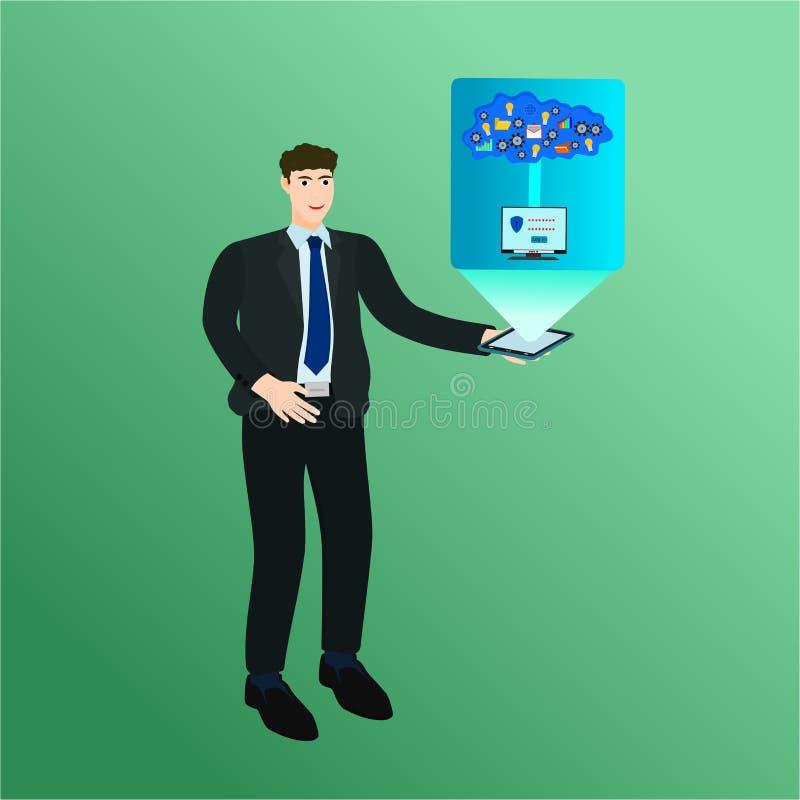 Σύννεφο υπολογιστών επίδειξης smartphone εκμετάλλευσης επιχειρηματιών διανυσματική απεικόνιση