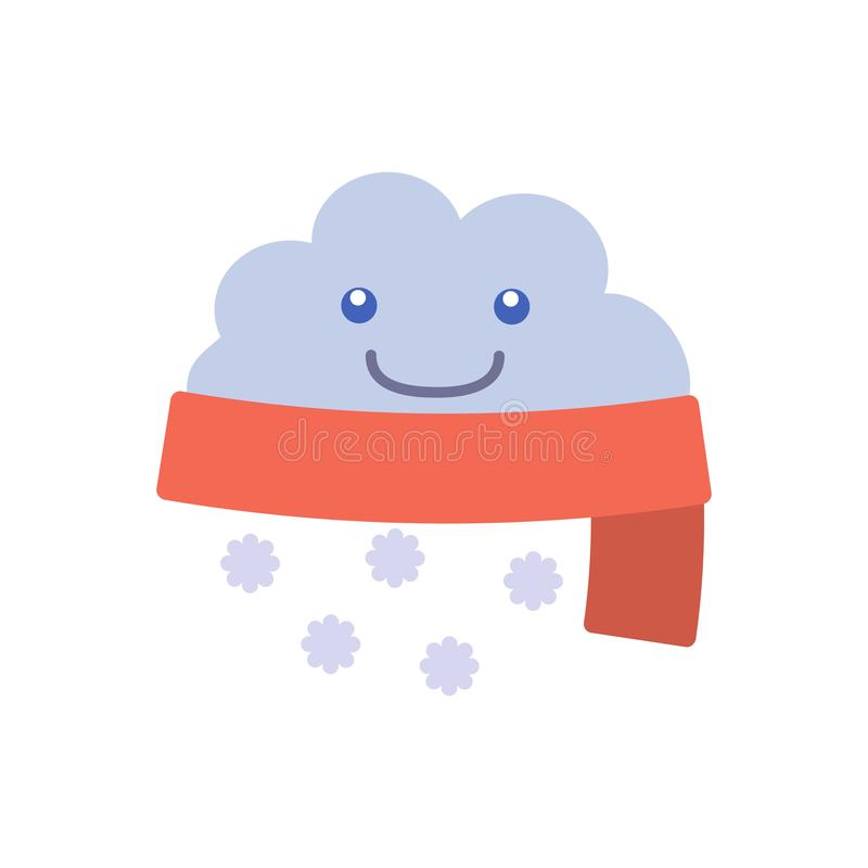 Σύννεφο χιονιού σημαδιών πρόγνωσης καιρού χαρακτήρα κινουμένων σχεδίων r διανυσματική απεικόνιση