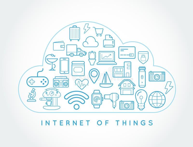Σύννεφο IOT Διαδίκτυο των έξυπνων WI σχεδίου εγχώριας διανυσματικών ποιότητας πραγμάτων ελεύθερη απεικόνιση δικαιώματος