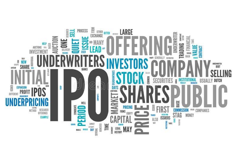 Σύννεφο IPO λέξης διανυσματική απεικόνιση