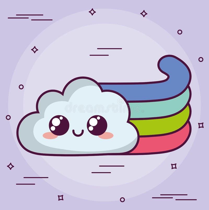 Σύννεφο Kawaii με ένα ουράνιο τόξο διανυσματική απεικόνιση