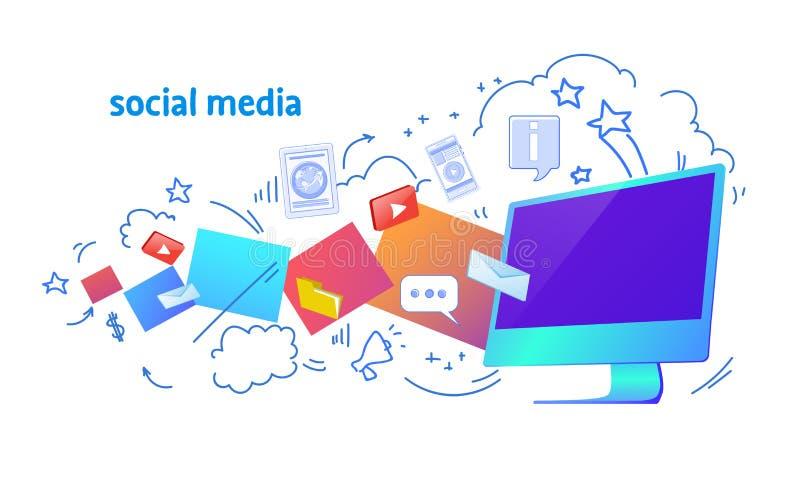 Σύννεφων αποθήκευσης κοινωνικό μέσων σκίτσο επικοινωνίας δικτύων εφαρμογής υπολογιστών συγχρονισμού σε απευθείας σύνδεση doodle ο απεικόνιση αποθεμάτων