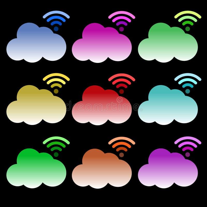 Σύννεφων διανυσματική απεικόνιση συμβόλων εικονιδίων καθορισμένη ελεύθερη απεικόνιση δικαιώματος