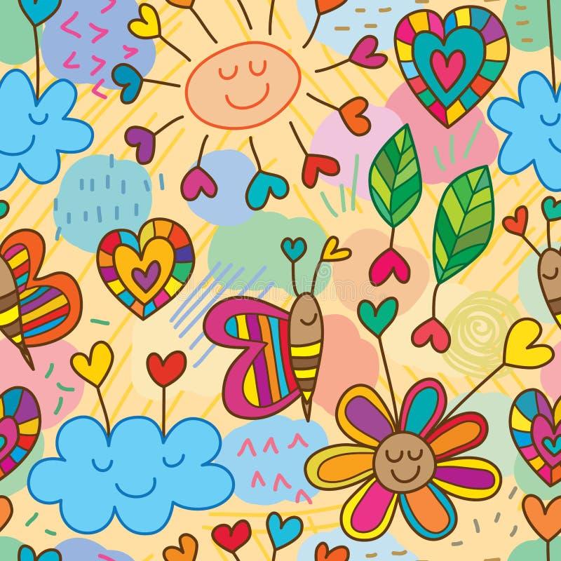 Σύννεφων λουλουδιών άνευ ραφής σχέδιο σχεδίων αγάπης ασταθές διανυσματική απεικόνιση