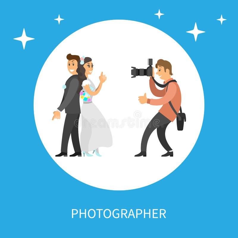 Σύνοδος γαμήλιων φωτογραφιών Newlyweds από το φωτογράφο απεικόνιση αποθεμάτων