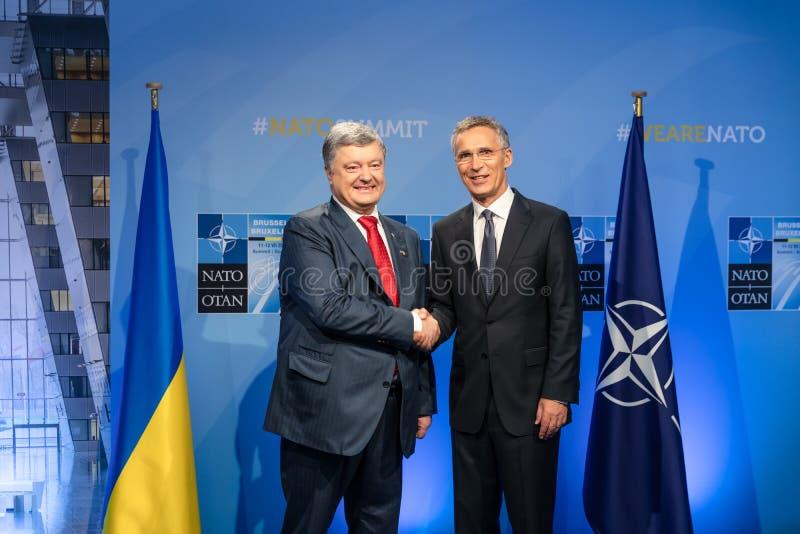 Σύνοδος κορυφής στρατιωτικής συμμαχίας του ΝΑΤΟ στις Βρυξέλλες στοκ φωτογραφία