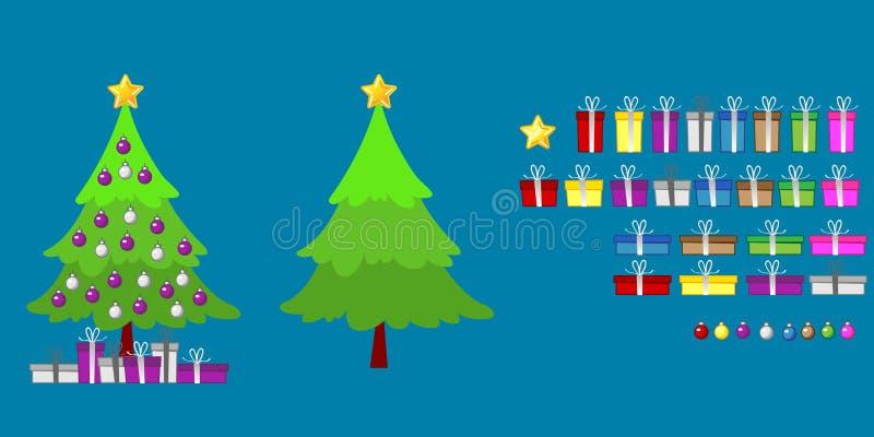 Σύνολα διακοσμήσεων και δώρων χριστουγεννιάτικων δέντρων ελεύθερη απεικόνιση δικαιώματος