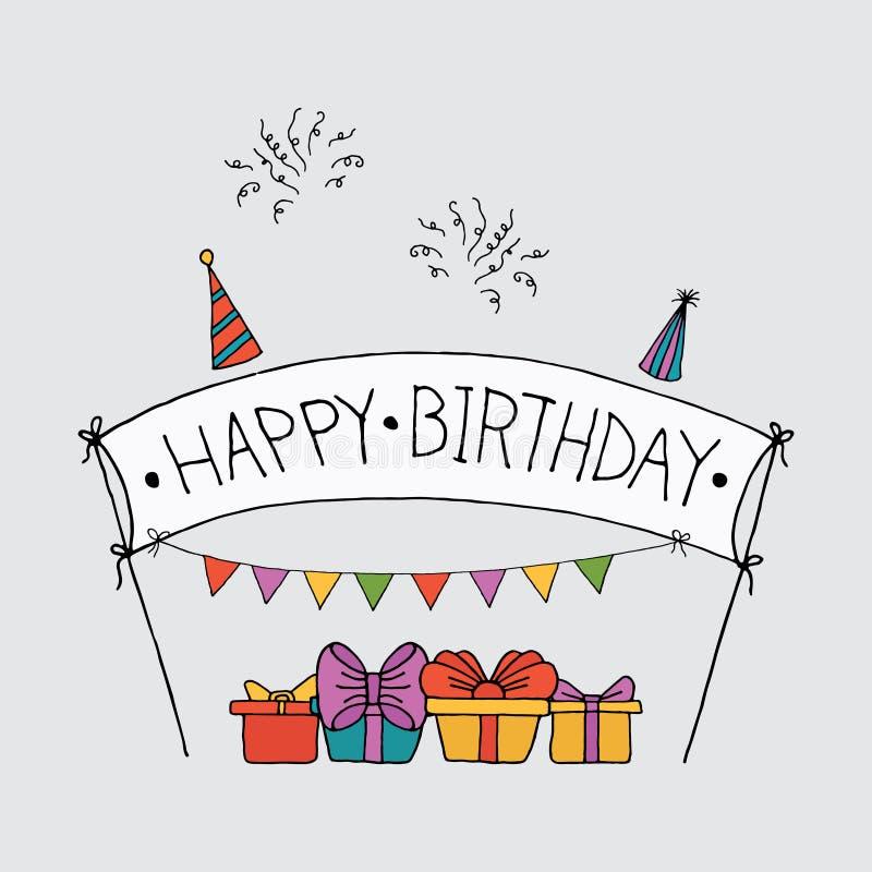 Σύνολα εορτασμού γιορτών γενεθλίων ελεύθερη απεικόνιση δικαιώματος