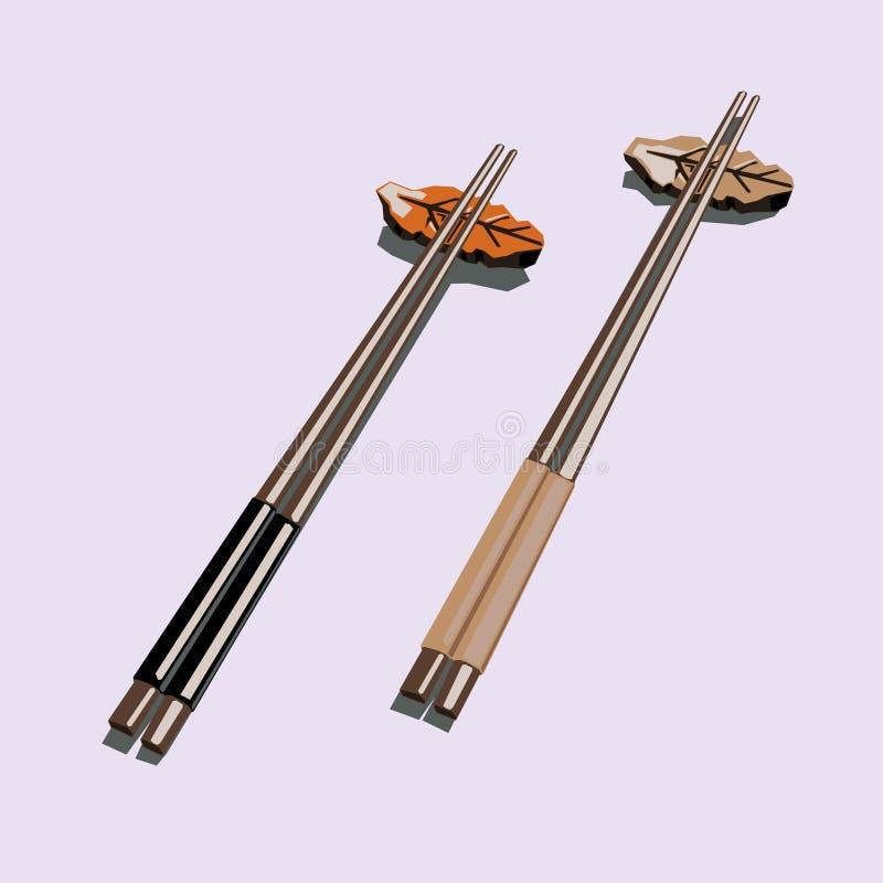 Σύνολα ζεύγους ξύλινου chopstick ειδώλου λογότυπων εικονιδίων διανυσματική απεικόνιση