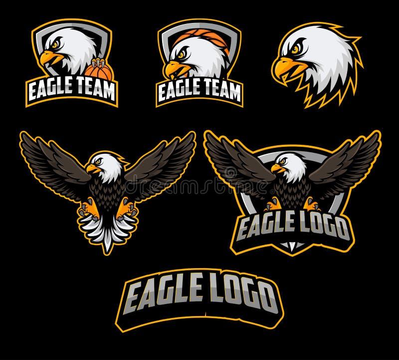 Σύνολα μασκότ λογότυπων καλαθοσφαίρισης με το διάνυσμα απεικόνισης αετών ελεύθερη απεικόνιση δικαιώματος
