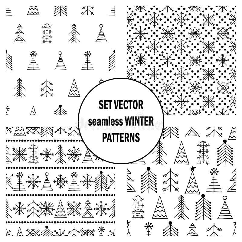 Σύνολο άνευ ραφής διανυσματικών σχεδίων με fir-trees, snowflakes εποχιακό χειμερινό υπόβαθρο με το χαριτωμένο συρμένο χέρι γραφικ διανυσματική απεικόνιση
