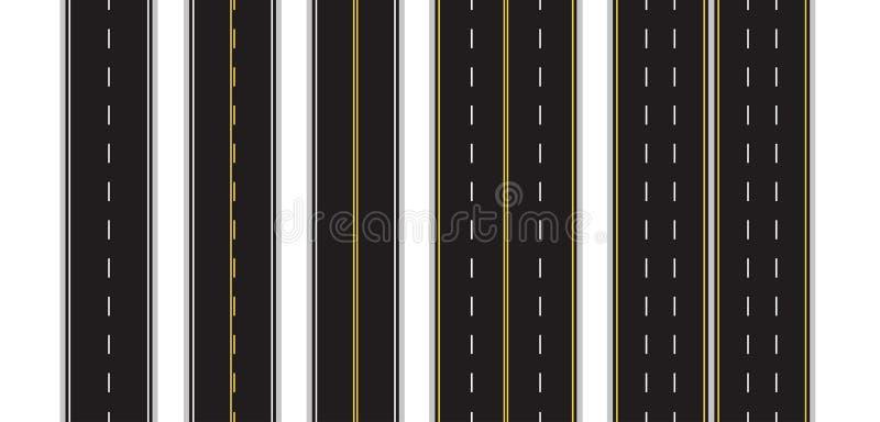 Σύνολο άνευ ραφής δρόμου που χαρακτηρίζει σε ένα απομονωμένο λευκό υπόβαθρο Τοπ όψη Ευθέα πρότυπα Infographic εθνικών οδών 10 eps ελεύθερη απεικόνιση δικαιώματος