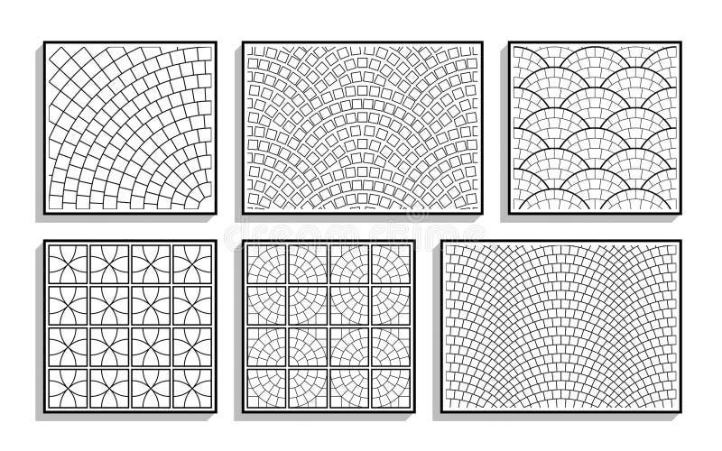 Σύνολο άνευ ραφής στρογγυλών συστάσεων πεζοδρομίων μαύρο λευκό προτύπων διανυσματική απεικόνιση