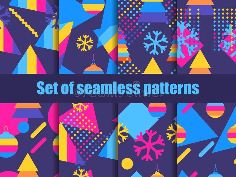 Σύνολο άνευ ραφής σχεδίου Μέμφιδα με snowflakes και fir-trees Συλλογή των ανασκοπήσεων Χριστουγέννων διανυσματική απεικόνιση