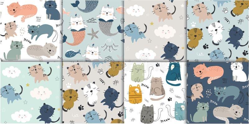 Σύνολο άνευ ραφής σχεδίου με τις χαριτωμένες γάτες παιδαριώδης διανυσματική απεικόνιση για το κλωστοϋφαντουργικό προϊόν, ύφασμα απεικόνιση αποθεμάτων