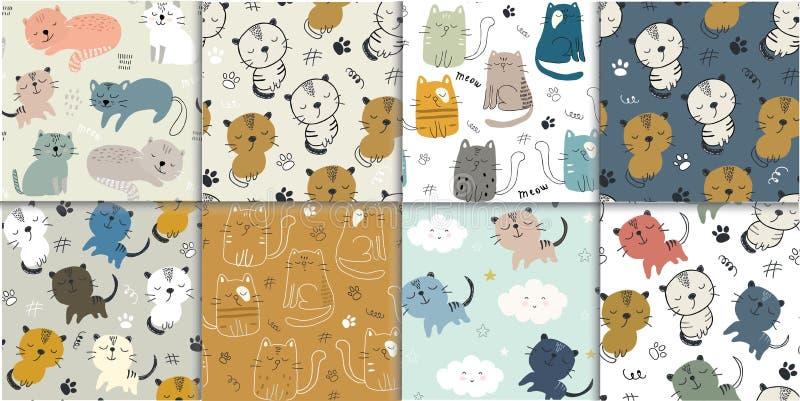 Σύνολο άνευ ραφής σχεδίου με τις χαριτωμένες γάτες παιδαριώδης διανυσματική απεικόνιση για το κλωστοϋφαντουργικό προϊόν, ύφασμα διανυσματική απεικόνιση