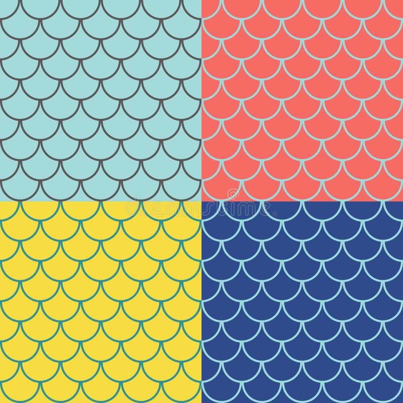 Σύνολο άνευ ραφής σχεδίων κλιμάκων ψαριών απεικόνιση αποθεμάτων