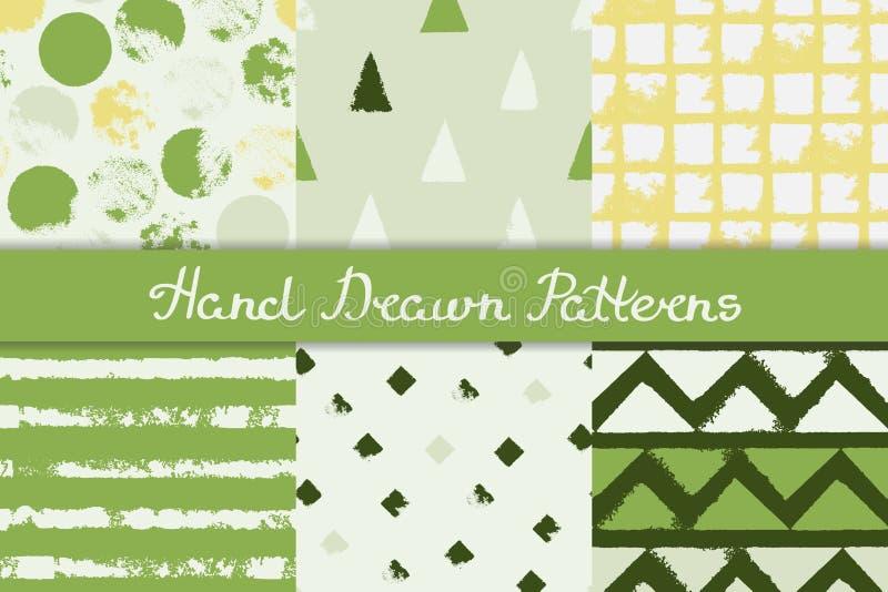 Σύνολο άνευ ραφής σχεδίων με τα γεωμετρικά σχέδια Λωρίδα ρόμβων τριγώνων κύκλων στο πράσινο γκρίζο κίτρινο λευκό συρμένο χέρι διανυσματική απεικόνιση