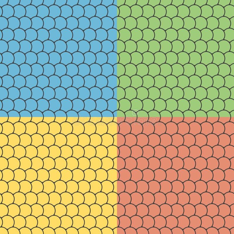 Σύνολο άνευ ραφής σχεδίων με τα στρογγυλά κεραμίδια διανυσματική απεικόνιση