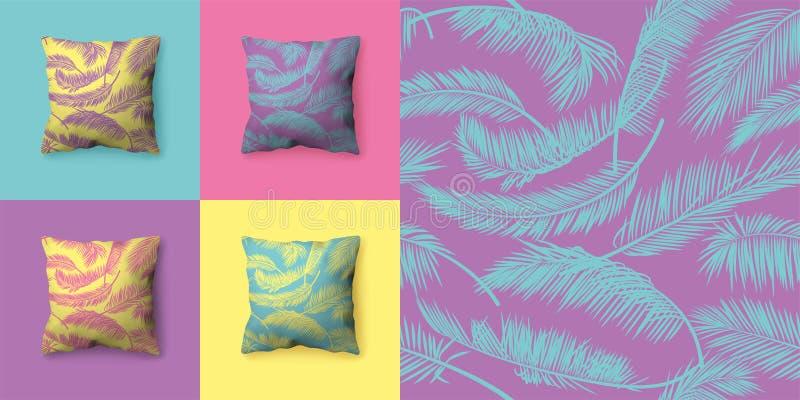 Σύνολο άνευ ραφής σχεδίων με τα φύλλα φοινικών στα χρώματα κρητιδογραφιών Διανυσματικά σχέδια για την ταπετσαρία, τυλίγοντας έγγρ στοκ εικόνες με δικαίωμα ελεύθερης χρήσης