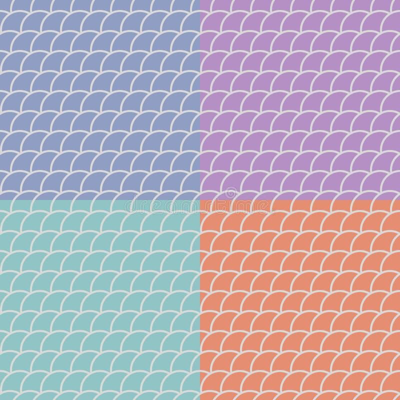 Σύνολο άνευ ραφής σχεδίων στα ασιατικά μοτίβα διανυσματική απεικόνιση