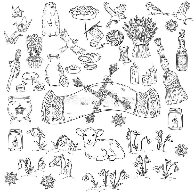 Σύνολο άνοιξη doodles Αρχή των συμβόλων άνοιξη Wiccan σκίτσο διακοπών Imbolc doodles Σταυρός Brigids, groundhog, snowdrops, διανυσματική απεικόνιση