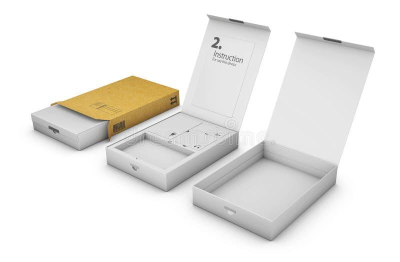 Σύνολο άσπρου κιβωτίου συσκευασίας τρισδιάστατη απεικόνιση διανυσματική απεικόνιση