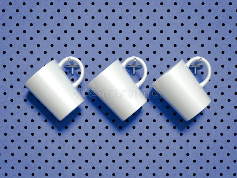 Σύνολο άσπρων κουπών που κρεμιούνται στους γάντζους μετάλλων τρισδιάστατη απόδοση διανυσματική απεικόνιση