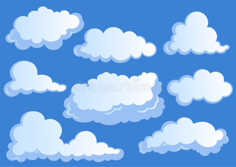 Σύνολο άσπρων σύννεφων, εικονίδια σύννεφων στο μπλε υπόβαθρο ελεύθερη απεικόνιση δικαιώματος