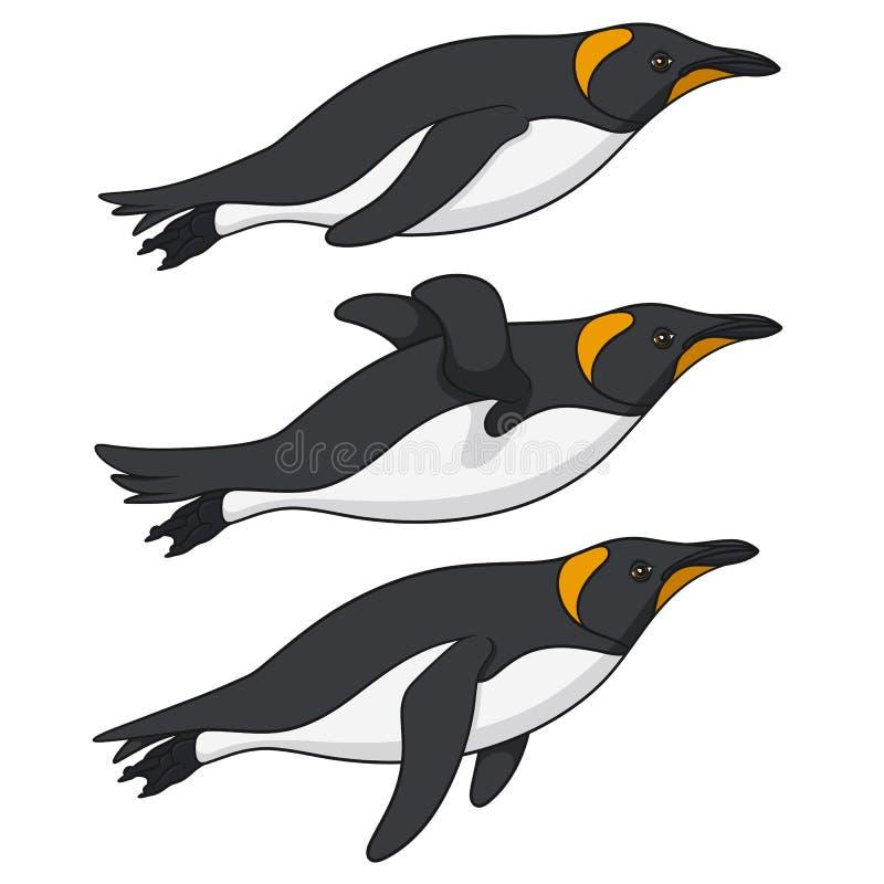 Σύνολο έγχρωμων εικονογραφήσεων με τα penguins που κολυμπούν στο νερό Απομονωμένα διανυσματικά αντικείμενα απεικόνιση αποθεμάτων