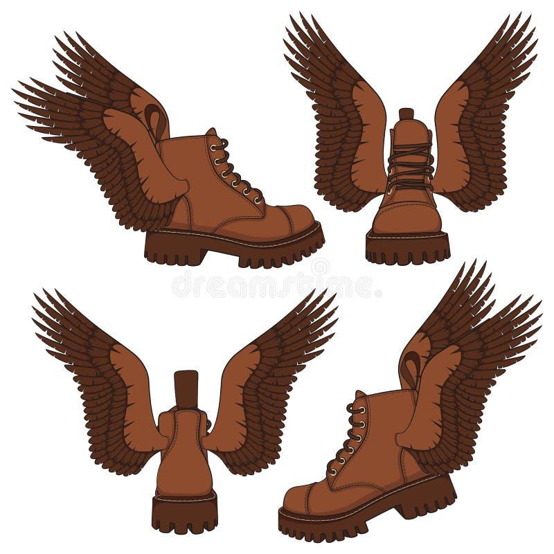 Σύνολο έγχρωμων εικονογραφήσεων των καφετιών μποτών με τα φτερά Απομονωμένα διανυσματικά αντικείμενα απεικόνιση αποθεμάτων