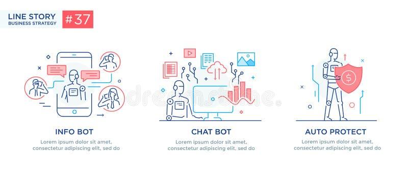 Σύνολο έννοιας απεικονίσεων με τους επιχειρηματίες τεχνολογία, συνεργασία, σύνδεση, επιχειρησιακό ρομπότ, cybes r απεικόνιση αποθεμάτων