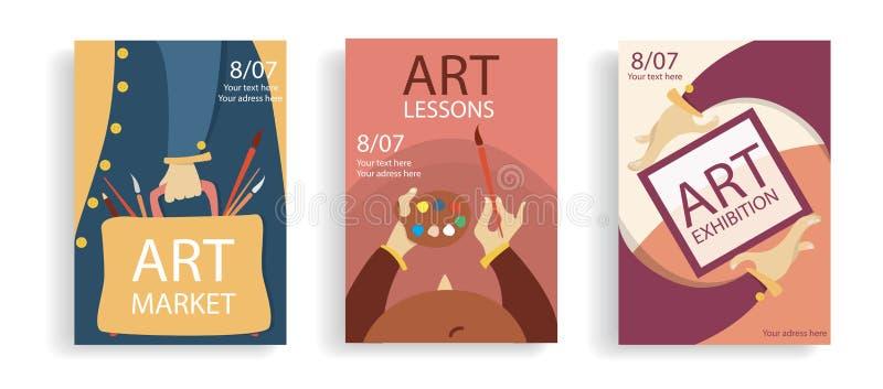 Σύνολο έννοιας εμβλημάτων τέχνης Χέρια κινούμενων σχεδίων με το πλαίσιο, την τσάντα και το φλυτζάνι με τις βούρτσες Ζωηρόχρωμες ε διανυσματική απεικόνιση